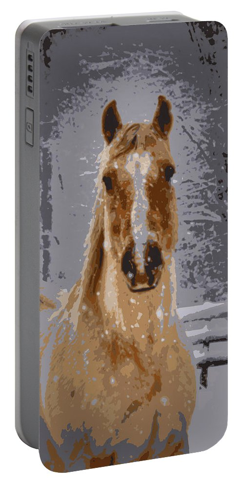 Horse Portable Battery Charger featuring the photograph Palomino In The Snow by Tina Meador