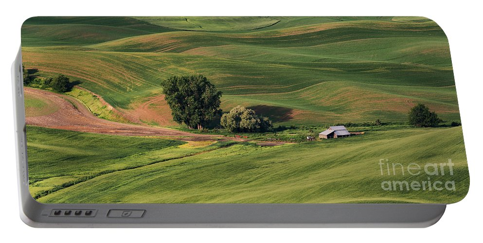 Aerial Portable Battery Charger featuring the photograph Palouse Farm 1 by Jerry Fornarotto