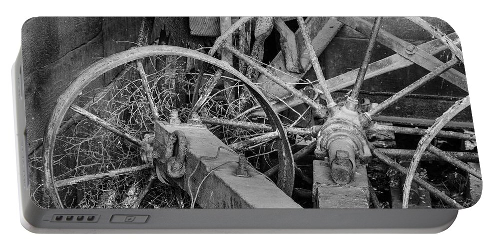 Tools Portable Battery Charger featuring the photograph Palouse Farm Wheels 3156 by Bob Neiman