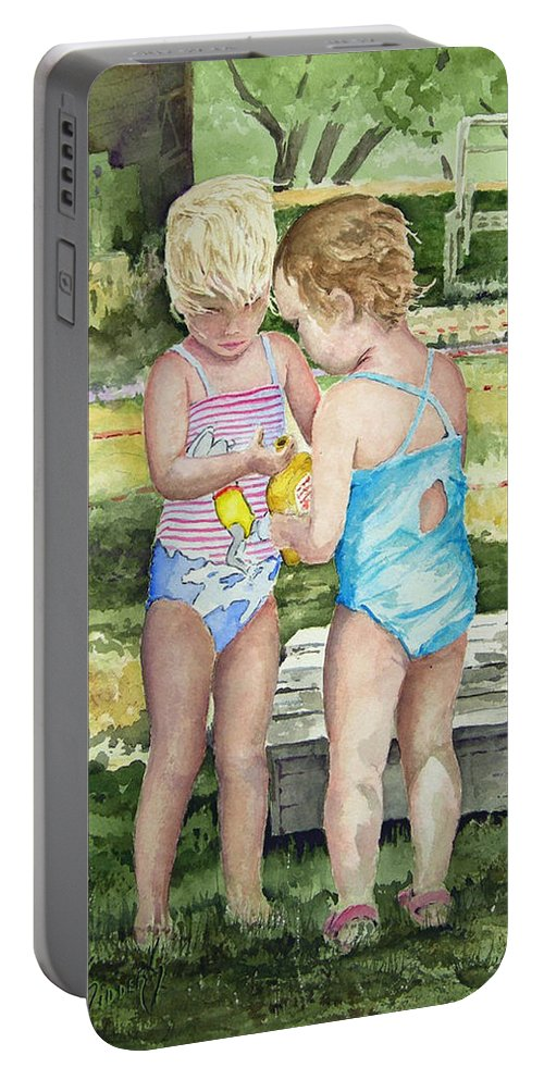 Children Portable Battery Charger featuring the painting Pals Share by Sam Sidders