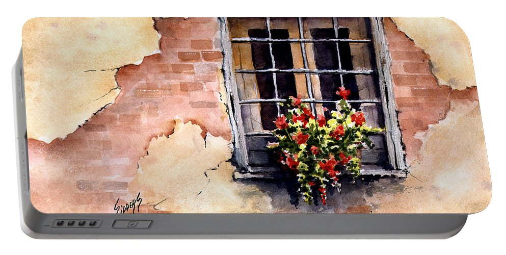 Window Portable Battery Charger featuring the painting Pampa Window by Sam Sidders