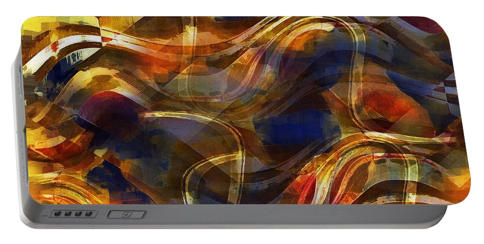 Abstract Portable Battery Charger featuring the painting Pamplona by RC DeWinter