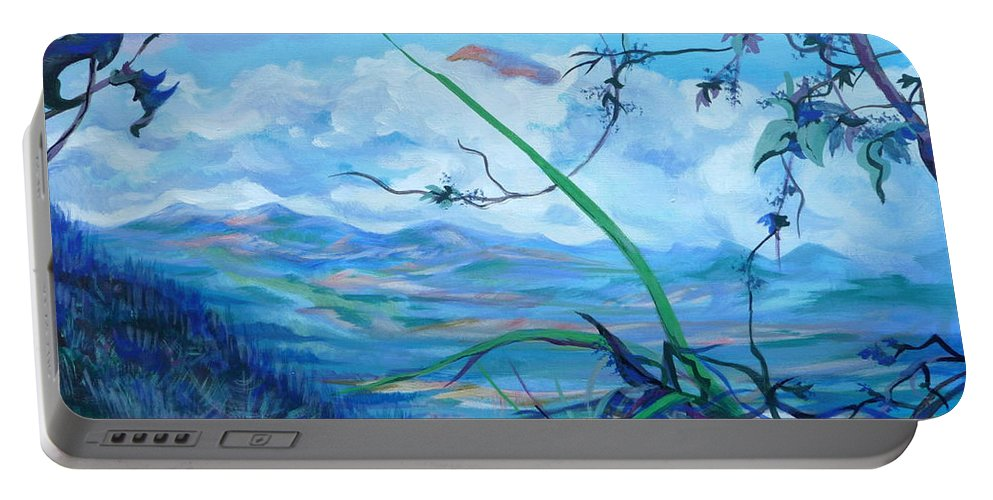 Landscape Portable Battery Charger featuring the painting Panama. Anton Valley by Anna Duyunova