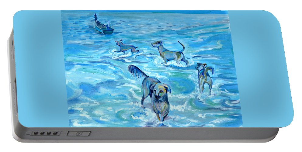 Impression Portable Battery Charger featuring the painting Panama. Salted Dogs by Anna Duyunova