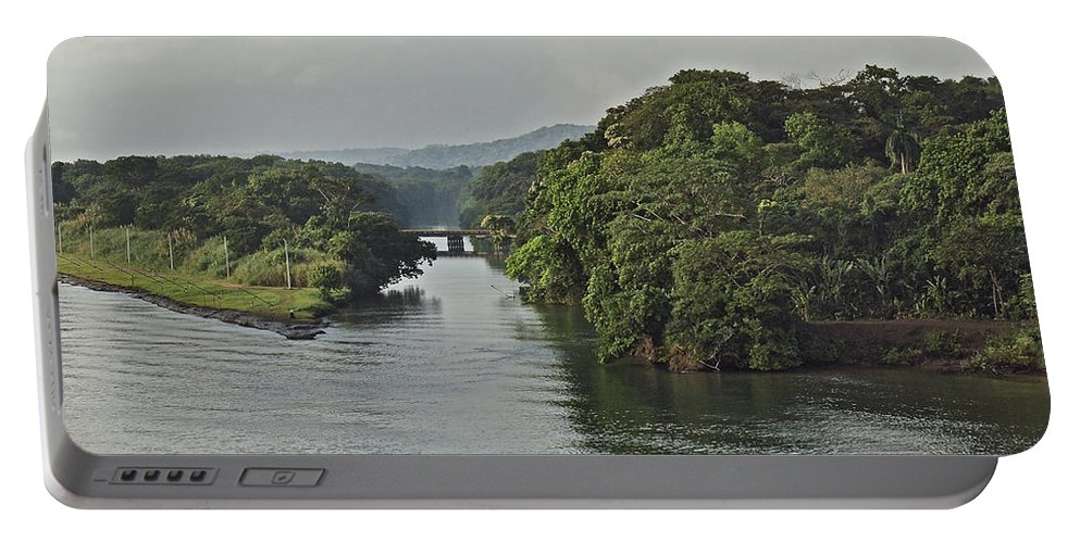 Canal Portable Battery Charger featuring the photograph Panama012 by Howard Stapleton