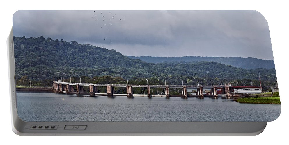 Canal Portable Battery Charger featuring the photograph Panama043 by Howard Stapleton
