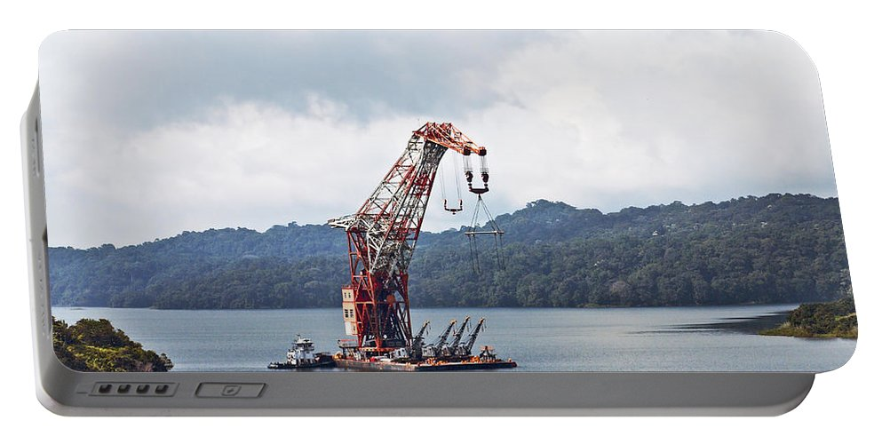 Barge Portable Battery Charger featuring the photograph Panama046 by Howard Stapleton