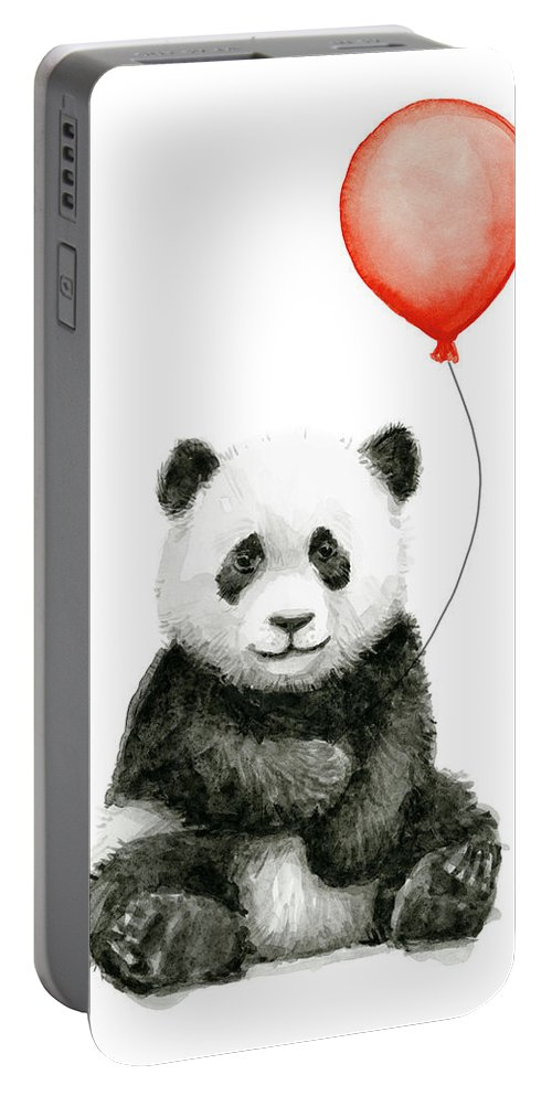 Baby Panda Portable Battery Charger featuring the painting Panda Baby And Red Balloon Nursery Animals Decor by Olga Shvartsur