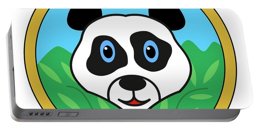 Animal Portable Battery Charger featuring the digital art Panda Bear Head by Miroslav Nemecek