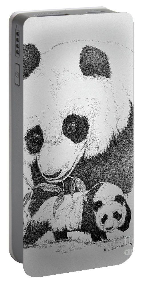 Panda Portable Battery Charger featuring the drawing Panda Collage by Lucien Van Oosten