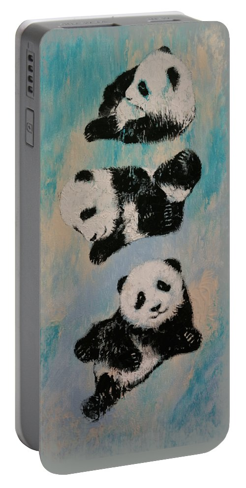 Children Portable Battery Charger featuring the painting Panda Karate by Michael Creese