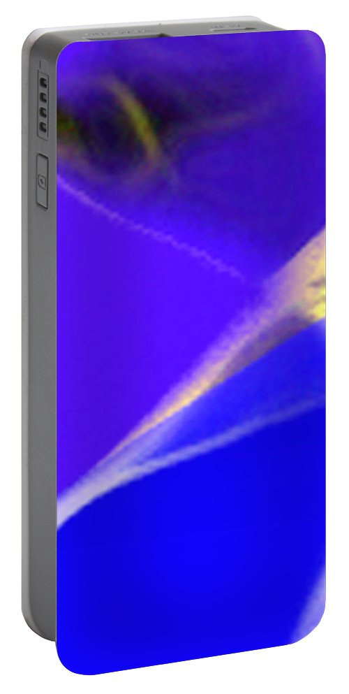 Abstract Portable Battery Charger featuring the digital art panel three from Movement in Blue by Steve Karol