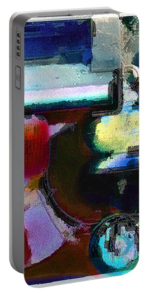 Abstract Portable Battery Charger featuring the photograph panel two from Centrifuge by Steve Karol