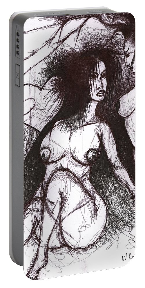Joy Portable Battery Charger featuring the drawing Panis Evil by Wojtek Kowalski
