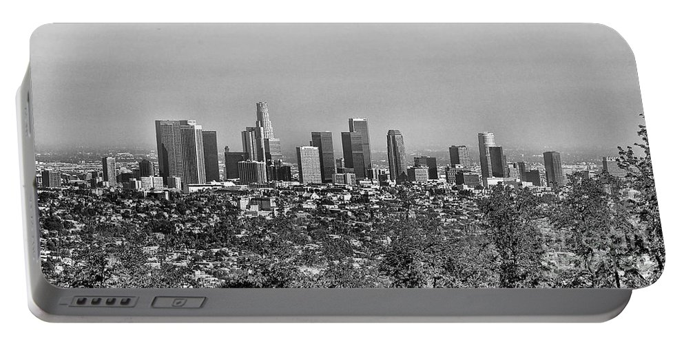 Los Angeles Portable Battery Charger featuring the photograph Pano Los Angeles City Black White by Chuck Kuhn