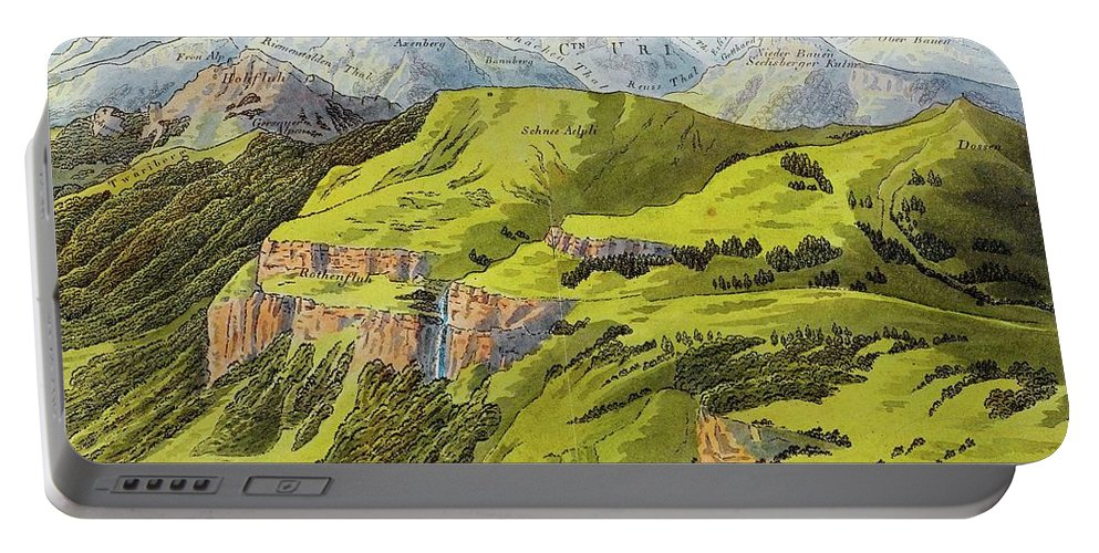 Keller Portable Battery Charger featuring the painting Panorama Drawn From The Rigi Mountain by MotionAge Designs