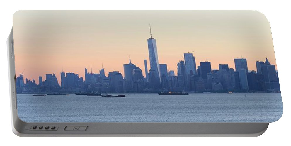 Skyline New York Portable Battery Charger featuring the photograph Panorama New York City Skyline At Sunrise by Merijn Van der Vliet