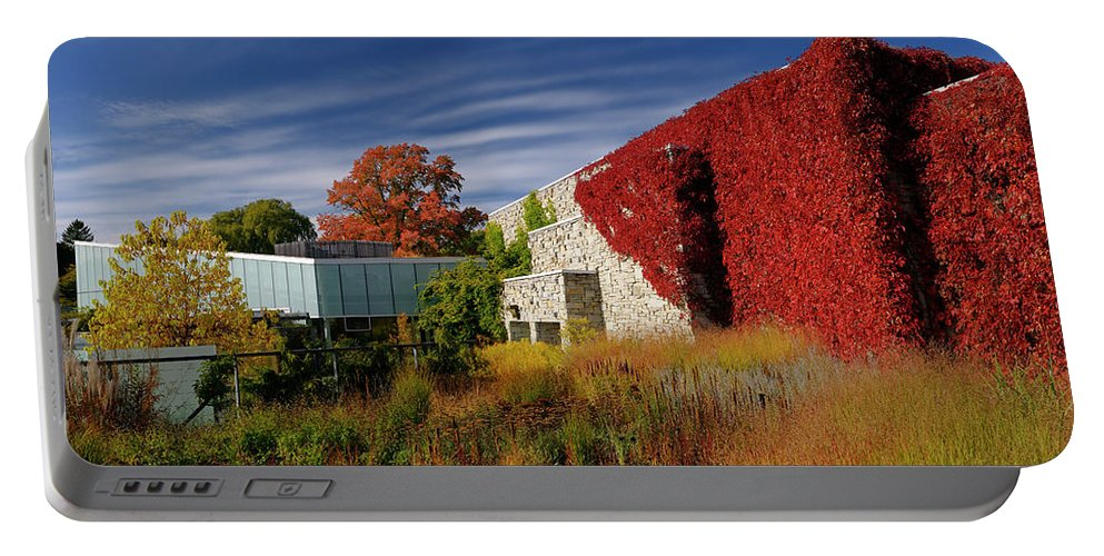 Red Portable Battery Charger featuring the photograph Panorama Of New Modern Building At Toronto Botanical Garden In E by Reimar Gaertner