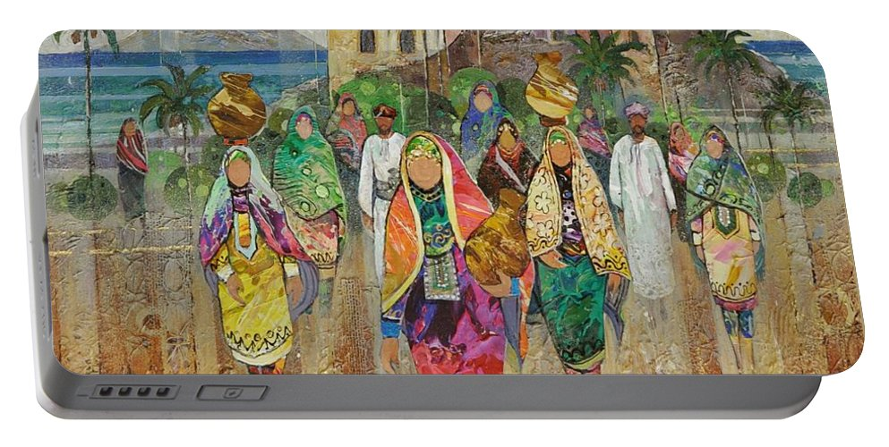 Figurative Portable Battery Charger featuring the painting Panorama Of Oman by Abdelwahab Nour