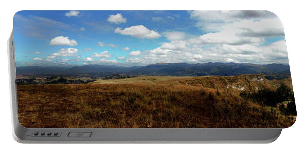 Pachamama Portable Battery Charger featuring the photograph Panorama Of Pachamama IIi by Al Bourassa