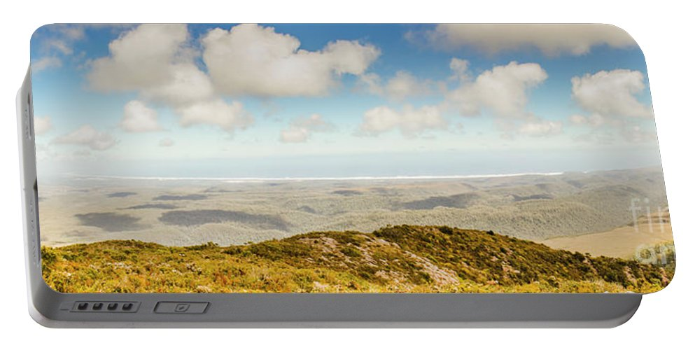 Australian Portable Battery Charger featuring the photograph Panoramic Views From Mount Zeehan To Trial Harbour by Jorgo Photography - Wall Art Gallery