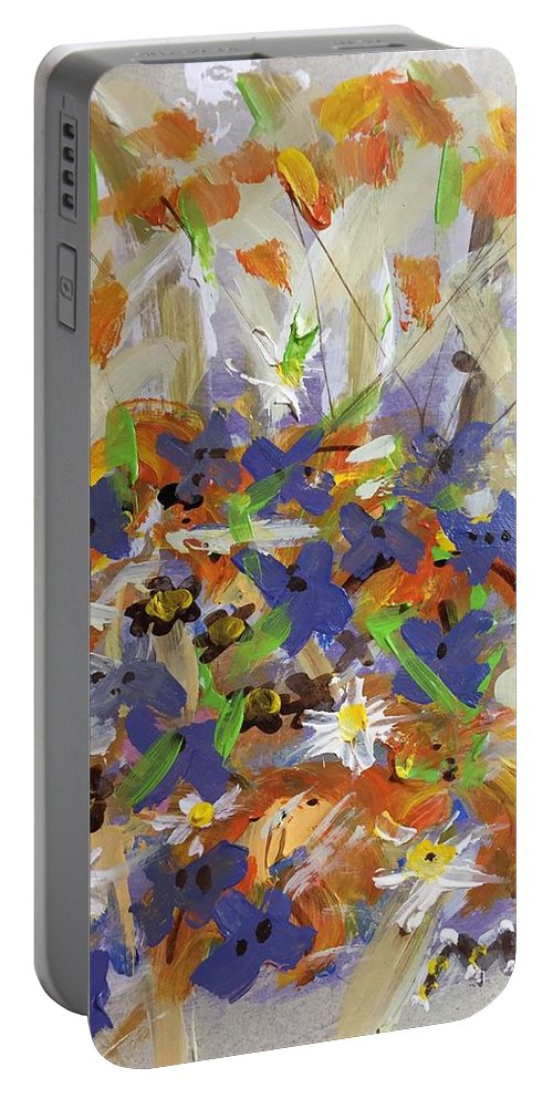 Pansies Portable Battery Charger featuring the digital art Pansies And Lillies by Mary Jo Hopton