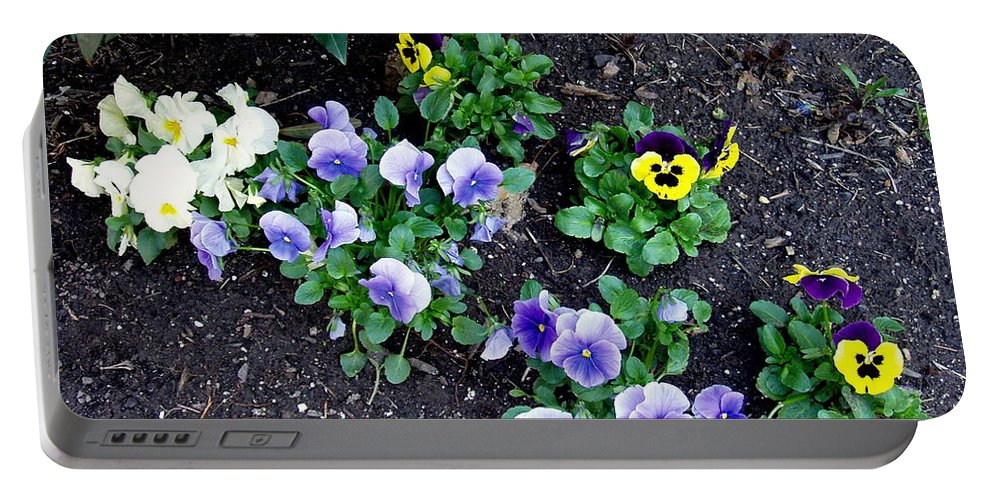 Flowers Portable Battery Charger featuring the photograph Pansies by Deborah Crew-Johnson