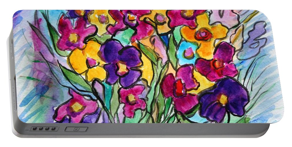 Flowers Portable Battery Charger featuring the painting Pansies by Luiza Vizoli
