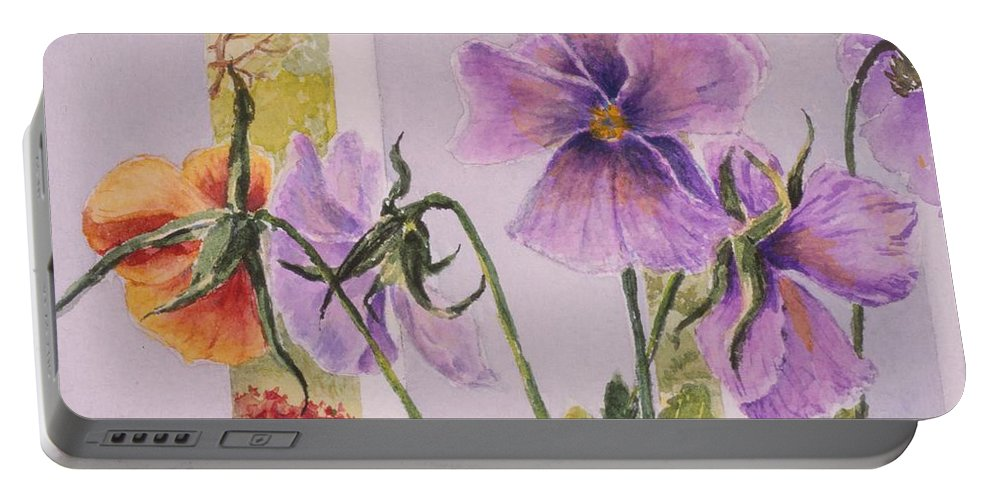 Florals Portable Battery Charger featuring the painting Pansies On My Porch by Mary Ellen Mueller Legault