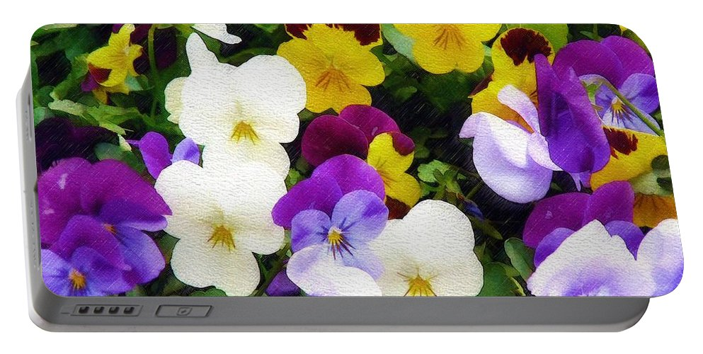 Pansies Portable Battery Charger featuring the photograph Pansies by Sandy MacGowan