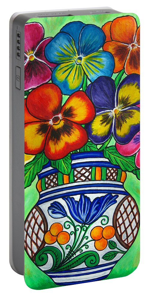 Flower Portable Battery Charger featuring the painting Pansy Parade by Lisa Lorenz