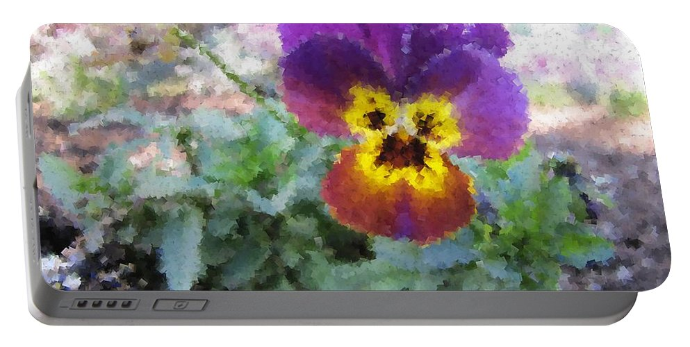 Flower Portable Battery Charger featuring the digital art Pansy Perfection by Tim Allen