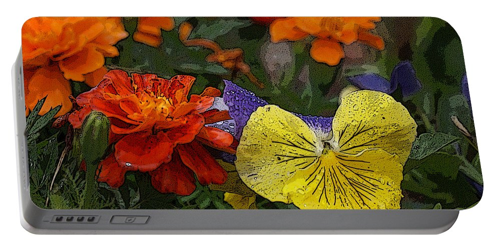 Pansy Portable Battery Charger featuring the photograph Pansy Play by Heather Coen