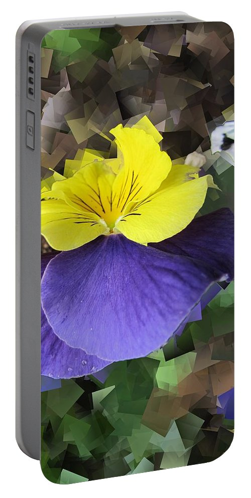 Pansy Portable Battery Charger featuring the digital art Pansy Squared by Tim Allen
