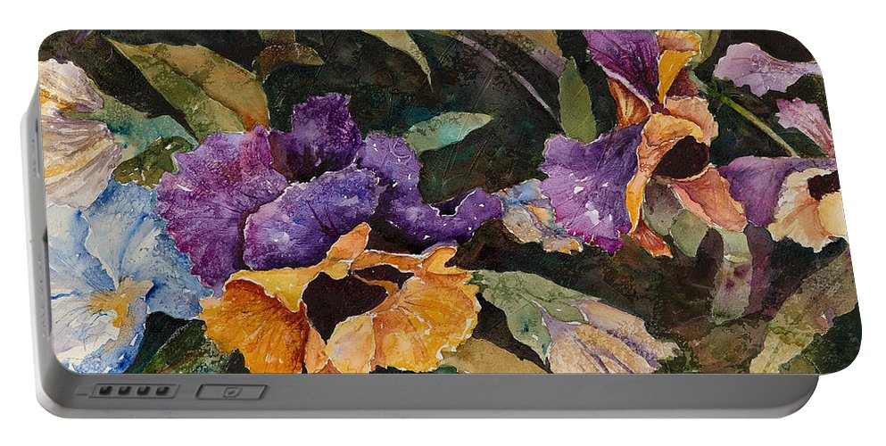 Pansies Portable Battery Charger featuring the painting Pansy Tangle by Renee Chastant