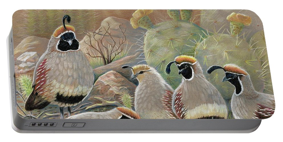 Desert Quail Portable Battery Charger featuring the drawing Papa Grande by Marilyn Smith