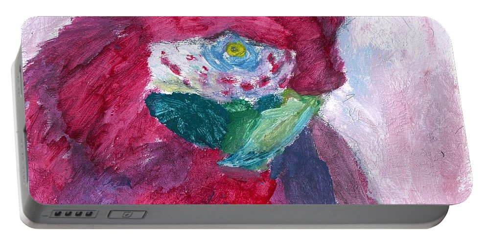 Parrot Portable Battery Charger featuring the painting Papagallo Number One by TotoTheTriplet