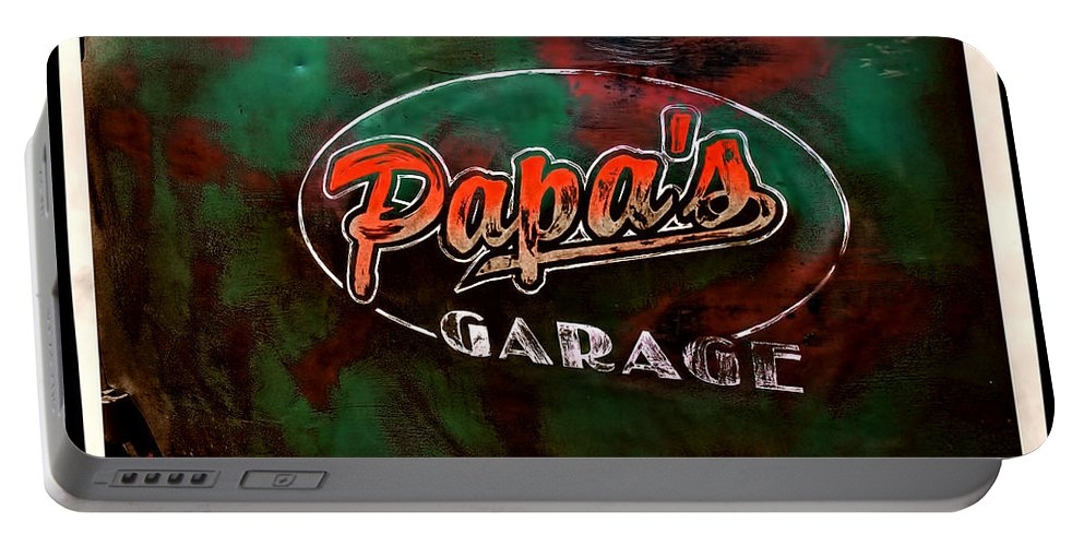 Classic Cars Portable Battery Charger featuring the photograph Papa's Garage by Adam Vance