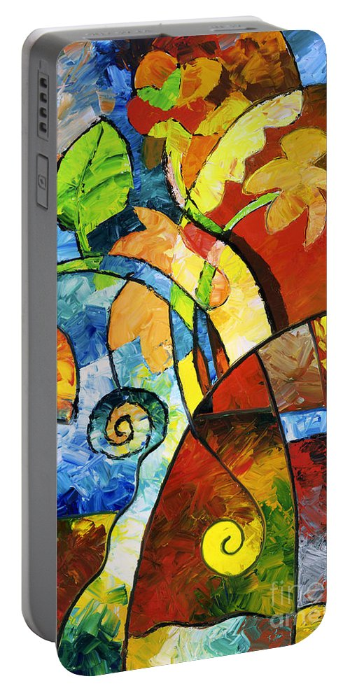 Flower Portable Battery Charger featuring the painting Paper Flowers by Sally Trace