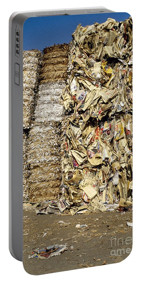 Paper Recycling Portable Battery Charger featuring the photograph Paper For Recycling by Inga Spence