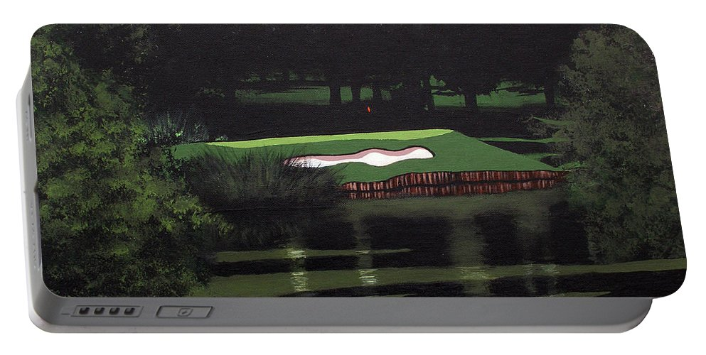 Green Portable Battery Charger featuring the painting Par 3 by Joe Roselle