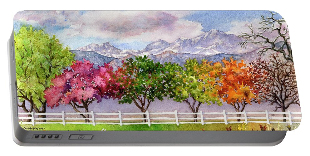 Trees Painting Portable Battery Charger featuring the painting Parade Of The Seasons by Anne Gifford