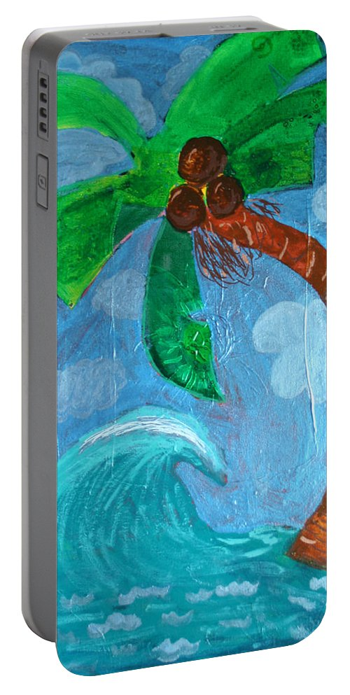 Palm Tree Portable Battery Charger featuring the painting Child Art by Amy Parker Evans