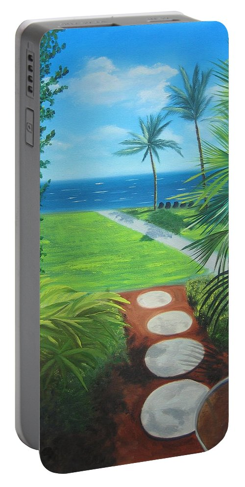 Seascape Portable Battery Charger featuring the painting Paradise Beckons by Lea Novak
