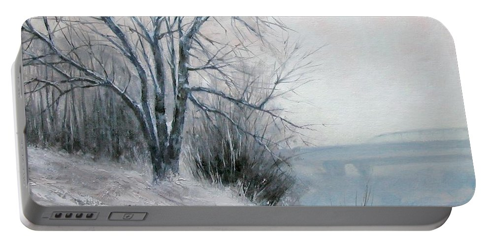 Art Portable Battery Charger featuring the painting Paradise Point Bridge Winter by Jim Gola