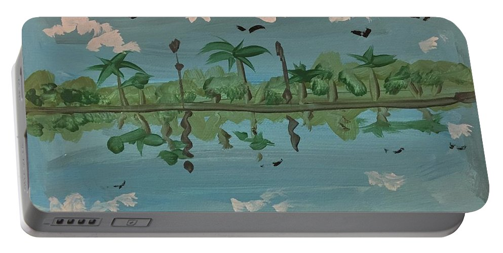 Easterseals Southwest Florida Portable Battery Charger featuring the painting Paradise Reflection by Jorge B
