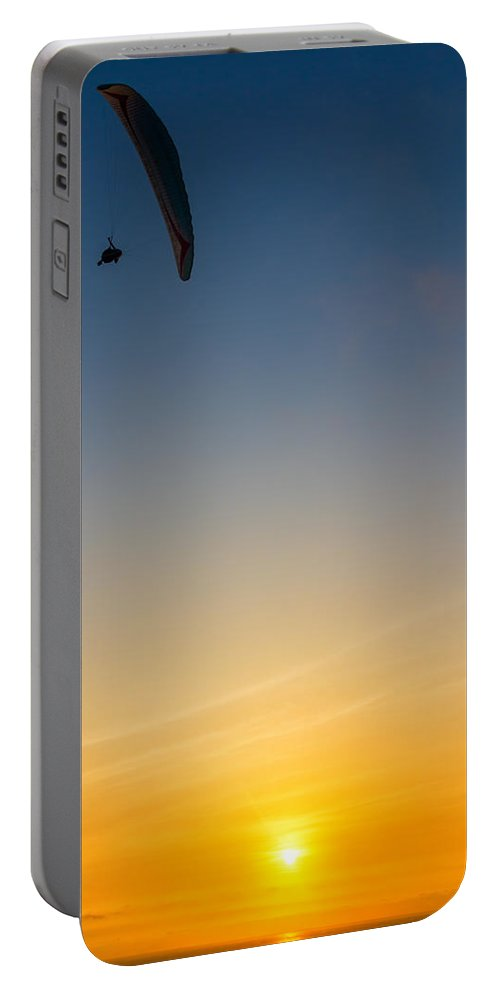 Lima Portable Battery Charger featuring the photograph Paraglider Sunset by Jess Kraft