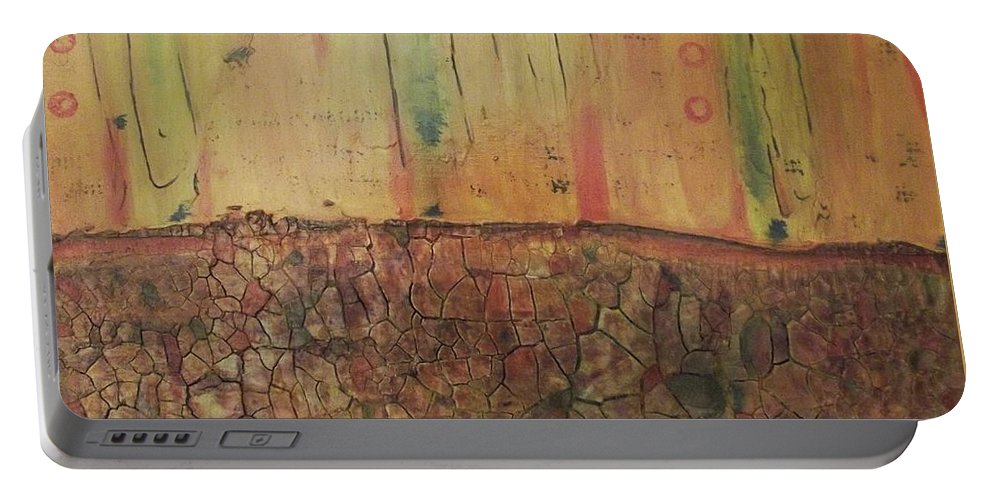 Abstract Painting Portable Battery Charger featuring the painting Parched by Gail Stivers