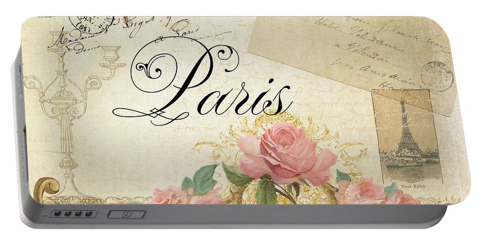 Timeless Portable Battery Charger featuring the painting Parchment Paris - Timeless Romance by Audrey Jeanne Roberts