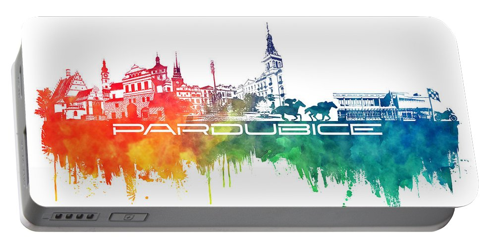 Pardubice Portable Battery Charger featuring the digital art Pardubice Skyline City Color by Justyna JBJart